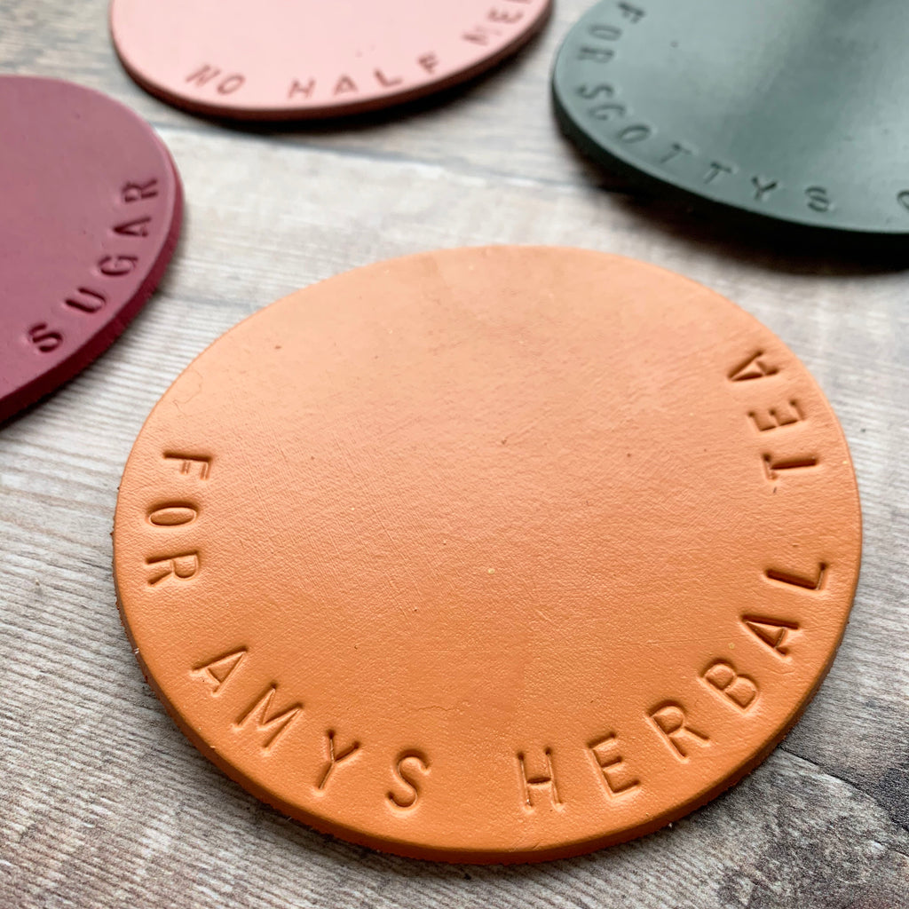 Hand stamped Leather Coaster