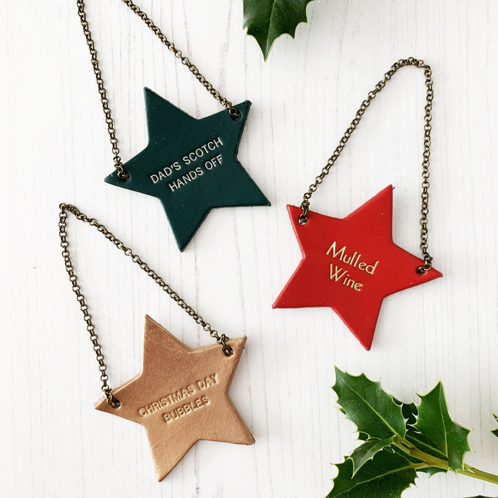 Christmas leather star bottle tag