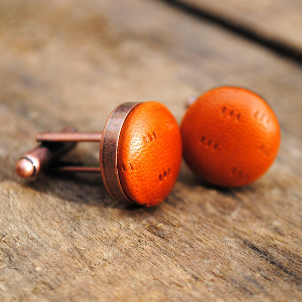 Tan Textured Leather Cufflinks