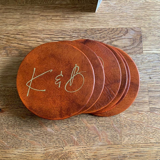 Couples Initial Leather Coaster