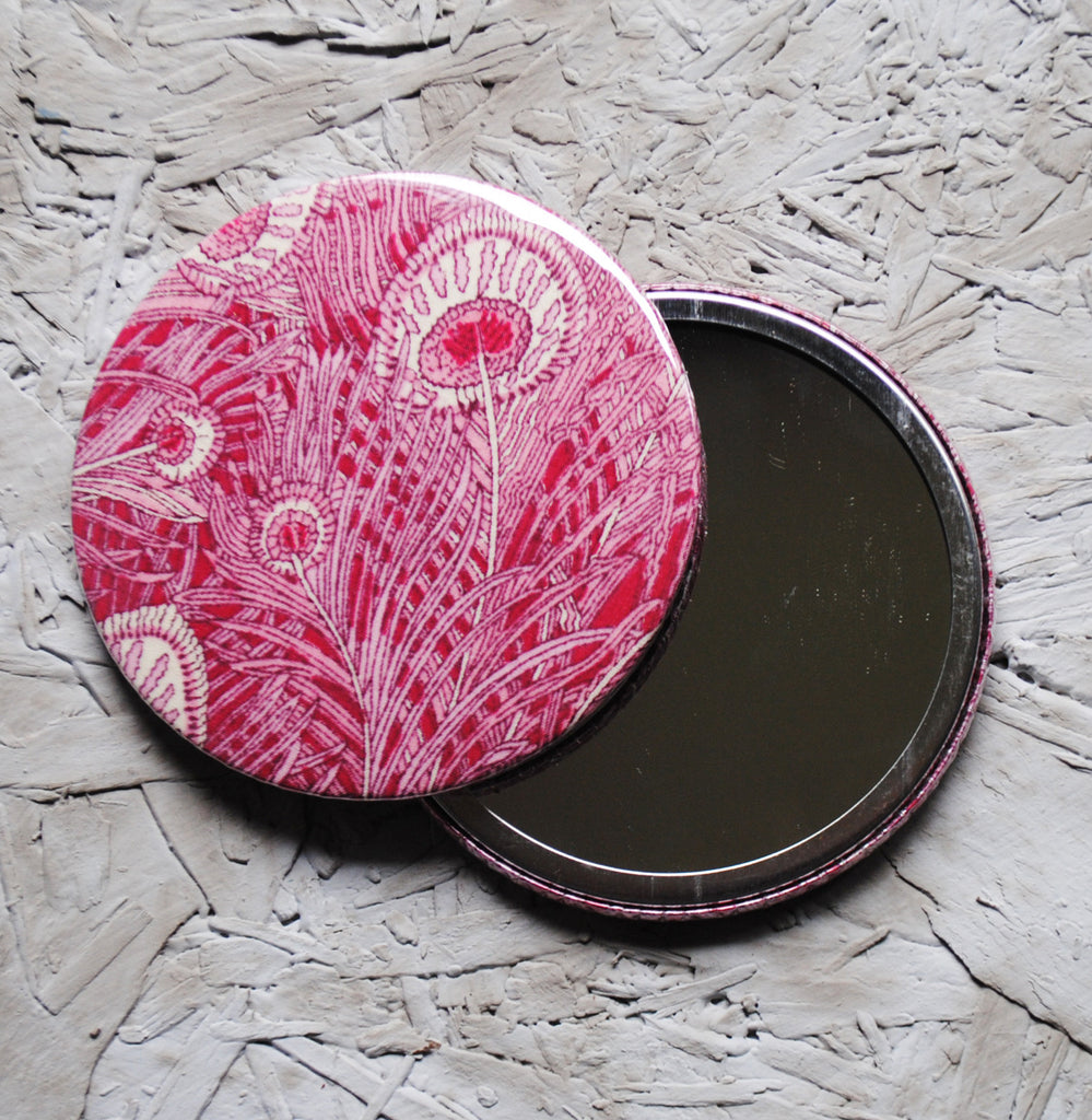Pink Peacock Pocket Mirror