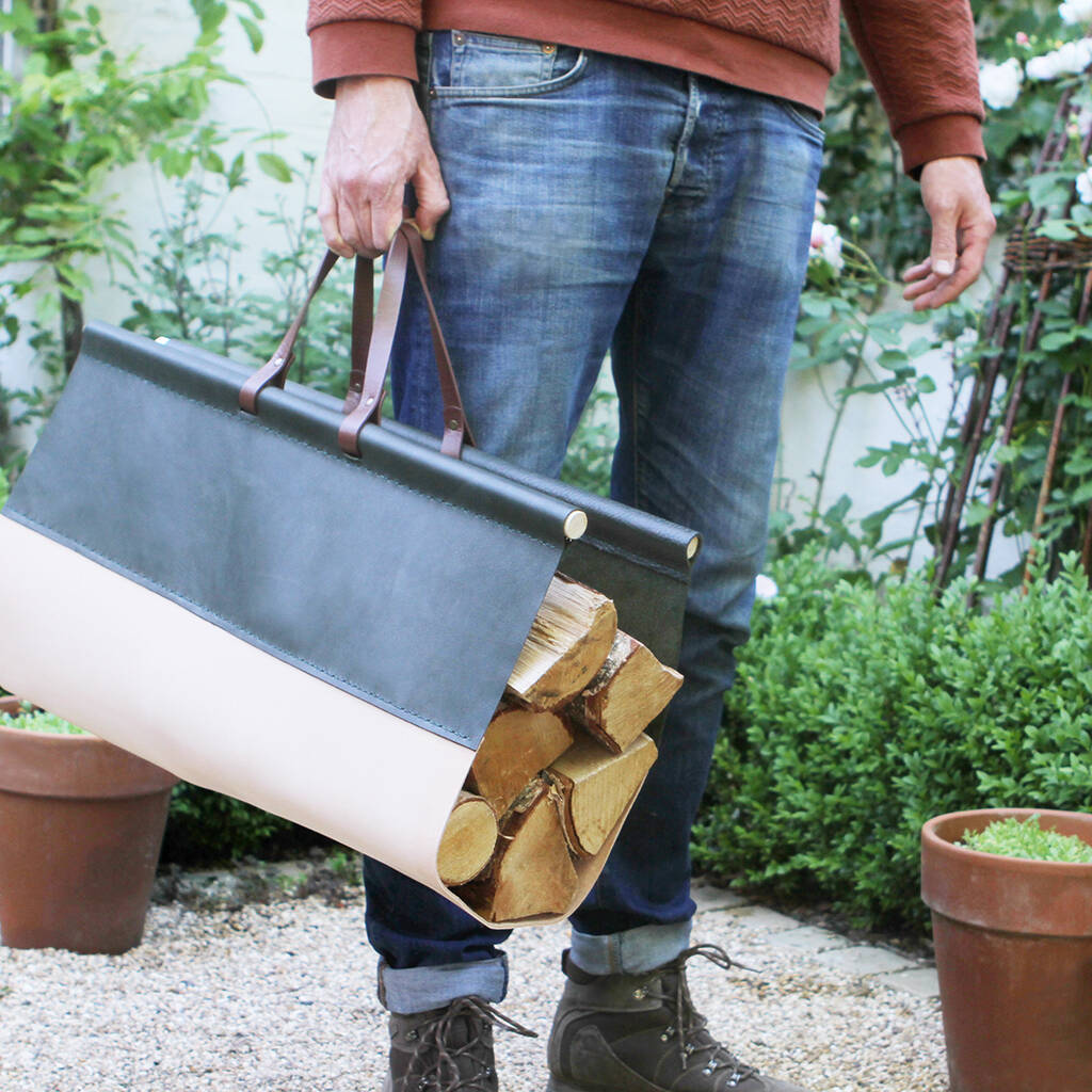 Luxury Leather Log Carrier