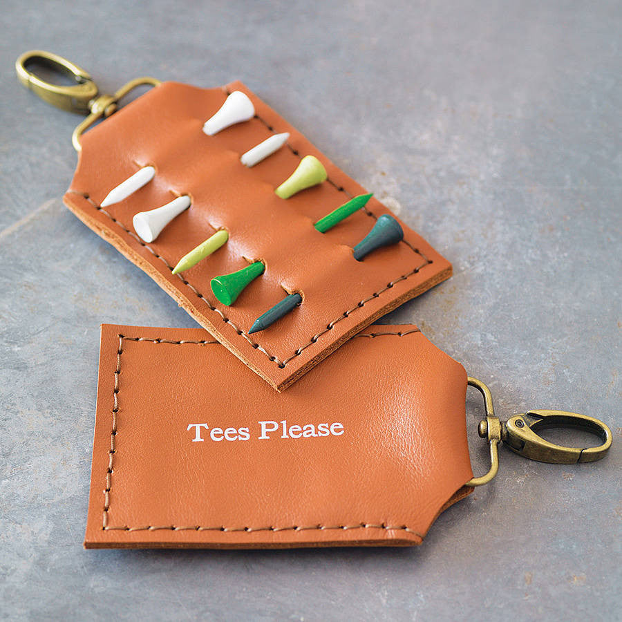 Tan leather golf tee holder with personalisation