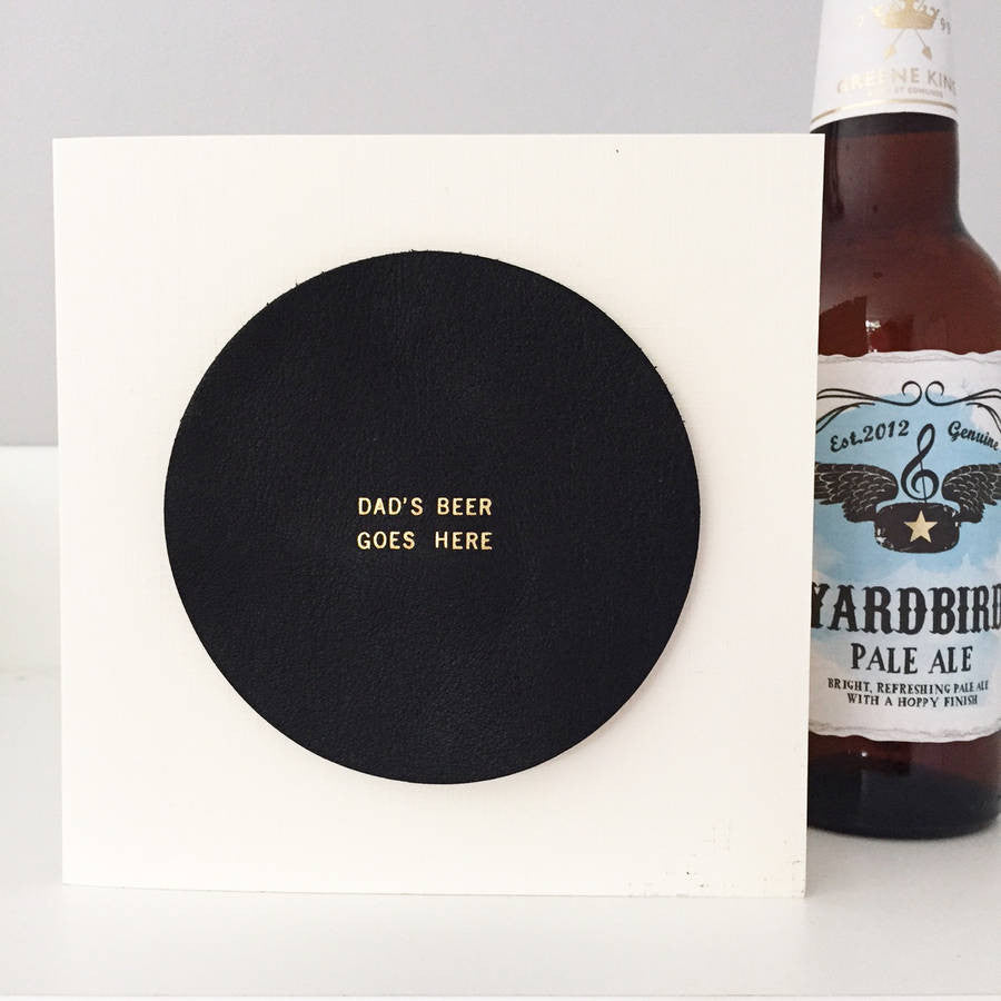 Personalised Leather Beer Mat Card