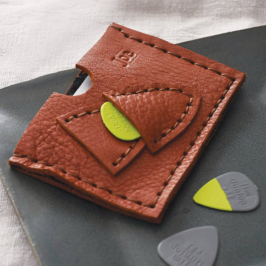 Leather plectrum and card holder