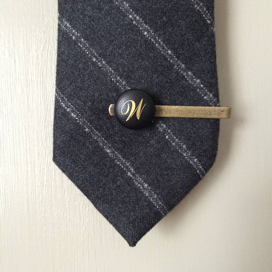 Personalised Vintage Leather Tie Clip