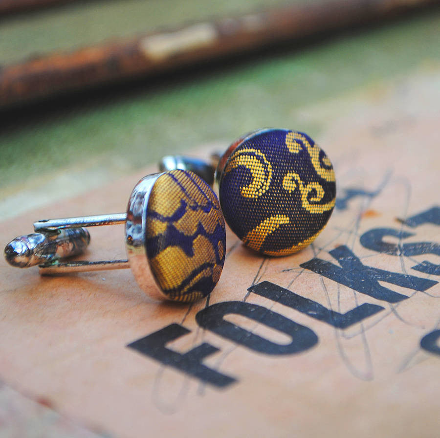 Purple and Mustard silk covered cufflinks