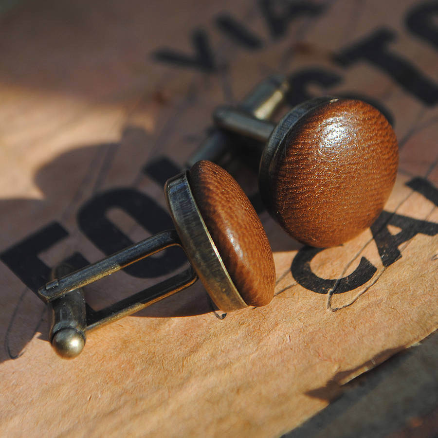 Bitter brown chocolate leather cufflinks with a vintage gold back - the perfect gift for any man