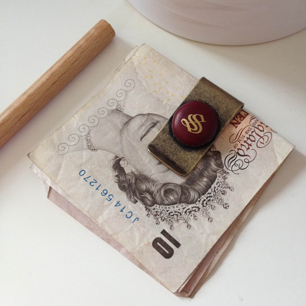 monogrammed ox blood money clip