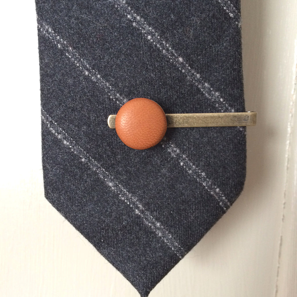 Tan leather tie clip
