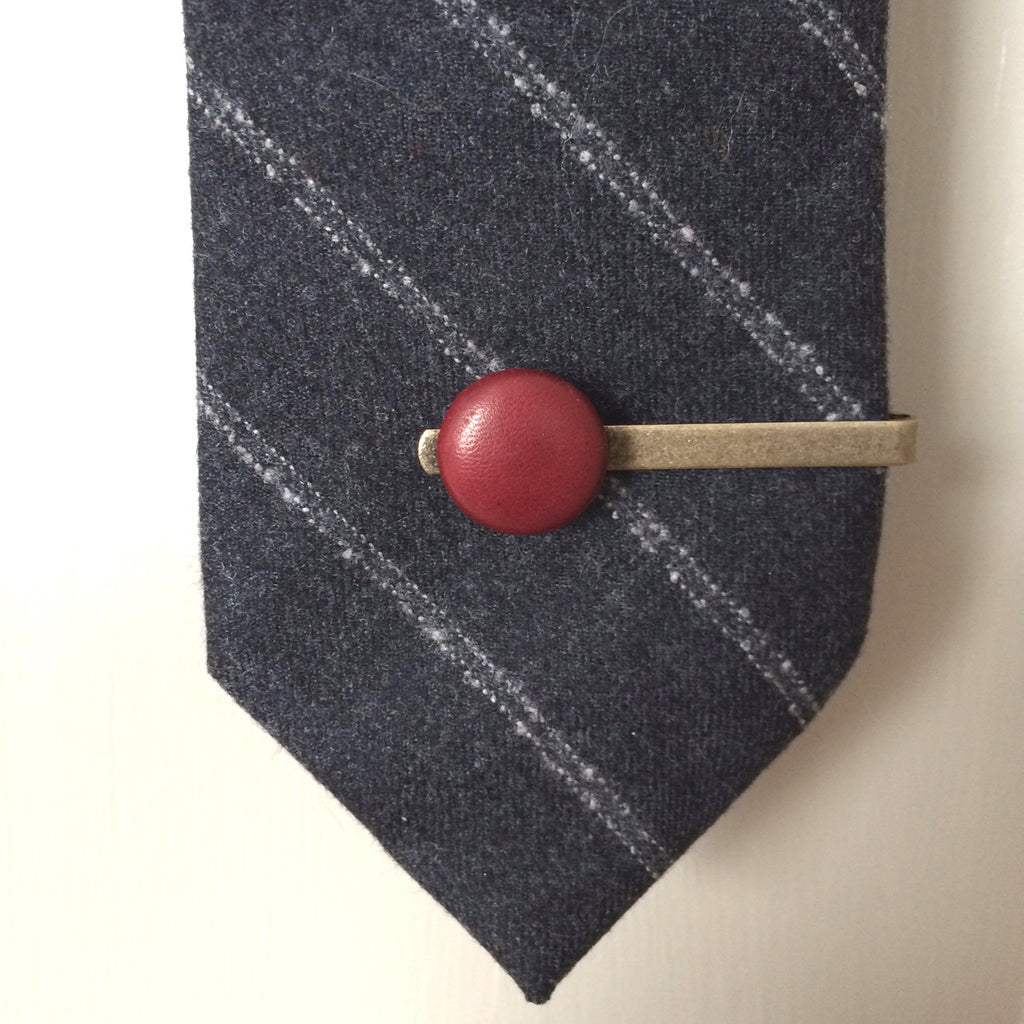 ox blood leather tie clip