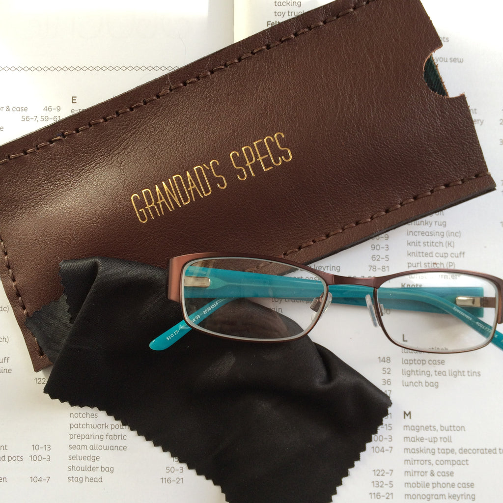 personalised chocolate brown leather glasses case