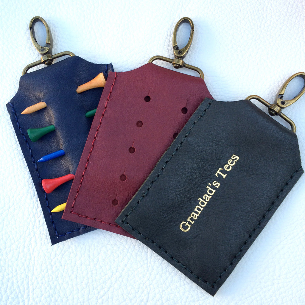 Leather golf tee holders available in other colours from Parkin & Lewis