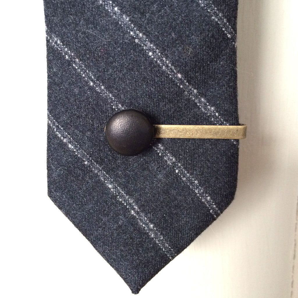 black leather tie clip