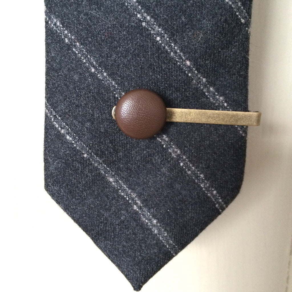 chocolate brown leather tie clip