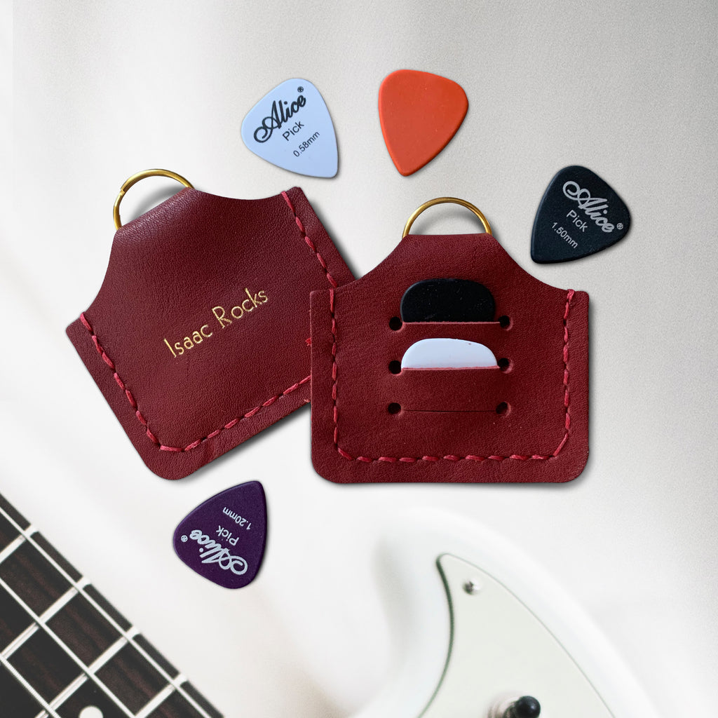 Dark Red Personalised Plectrum Holder Keyring