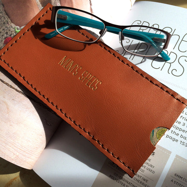 Personalised Tan Glasses Case