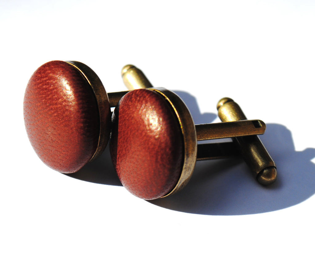 Ox blood leather cufflinks - a simple stylish accessory