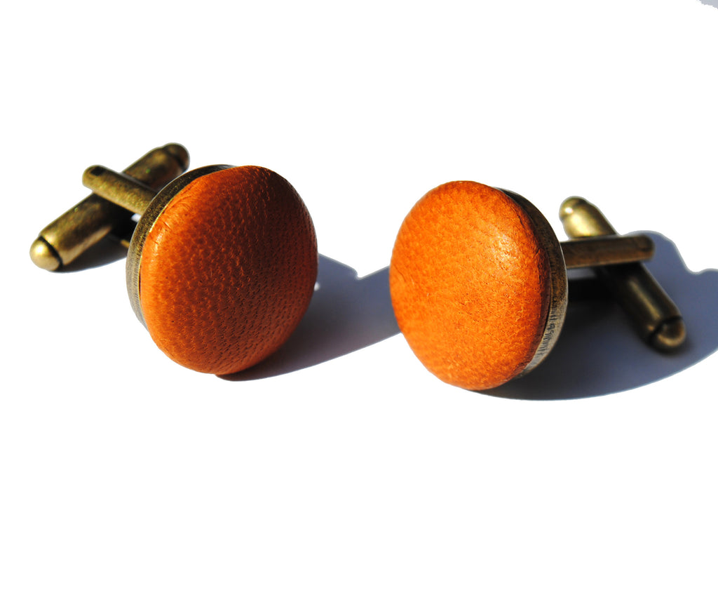 tan leather cufflinks