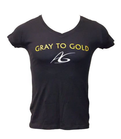 Women's Adeline Gray 'Gray to Gold' V-Neck T-Shirt