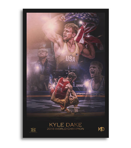 Signed Kyle Dake 2018 World Champion Limited Edition Lithograph