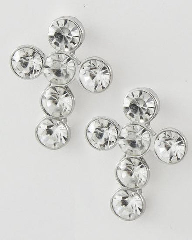 Rhinestone Cross Stud Earrings