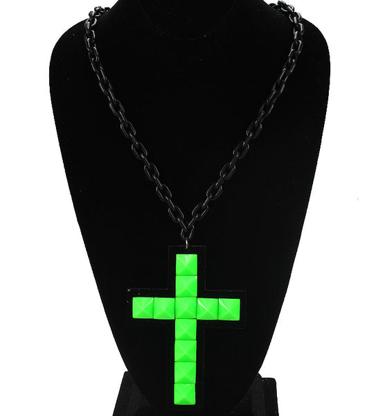 Neon Cross Chain Necklace