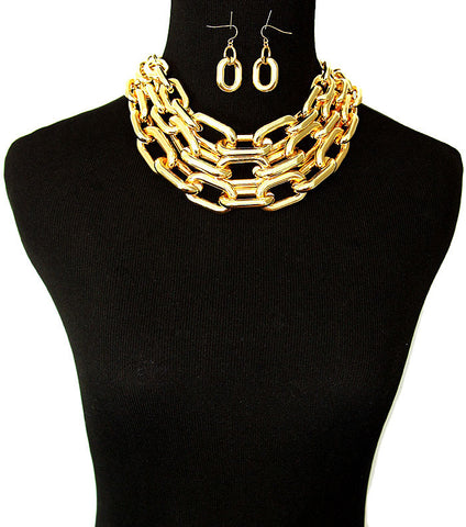 Chunky 3 Chain Necklace Set (More Colours Available)