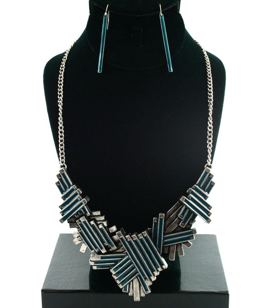 Urban Glam Pattern Necklace & Earrings Set (More Colours Available)