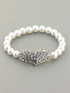 Heart Pearl Bracelet (More Colours Available)