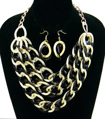 Black & Gold Chunky Chain Set