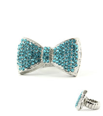 Crystal Aqua Bow Ring