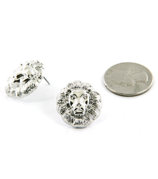 Lion Head Stud Silver Earrings