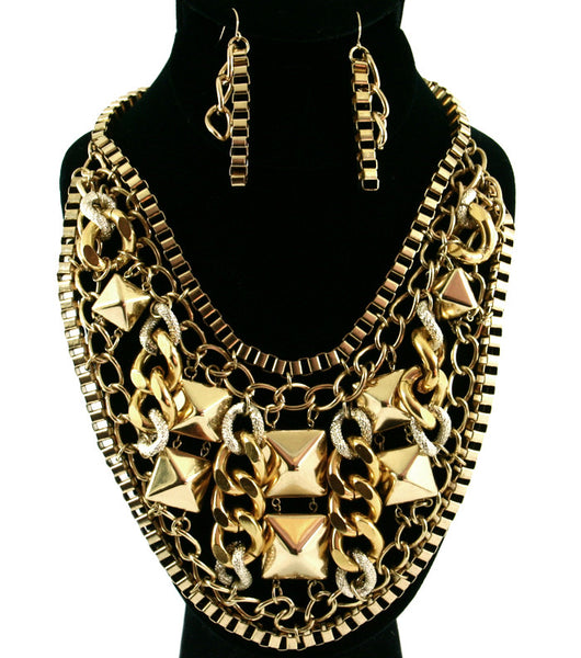 Chunky Gold Chain n' Stud Necklace Set