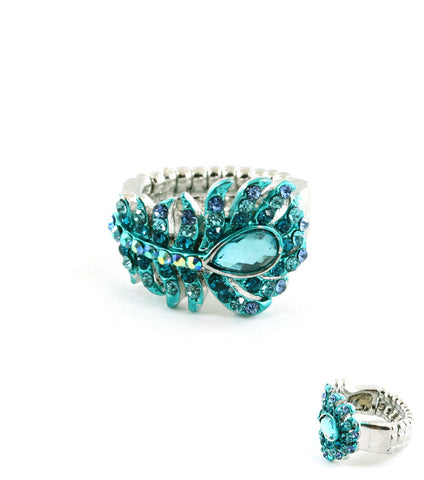 Teal Crystal Stretch Ring