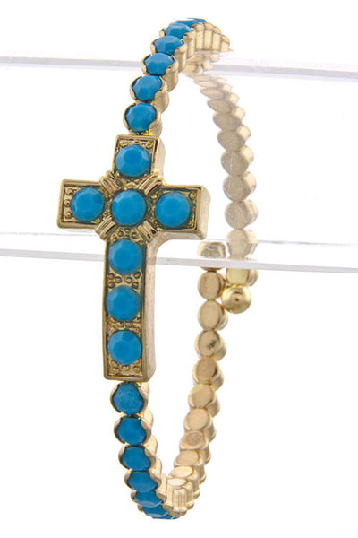 Bright Stone Cross Bracelet (More Colours Available)