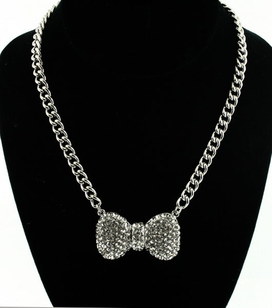 Crystal Bow Necklace (More Colours Available)