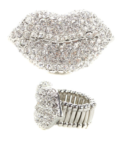Crystal Lips Ring