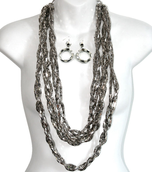 Long Braid Chain Necklace and Earring Set