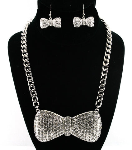 Crystal Large Bow Necklace Set (More colours Available)