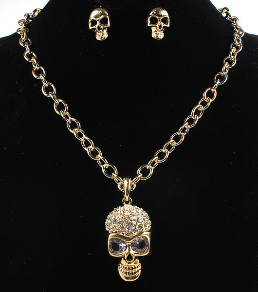 Skull Necklace and Earrings Set