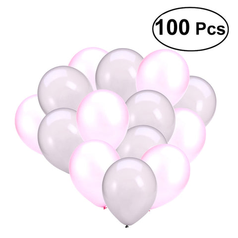 100 Pcs Pink and Silver 12inch Round Latex Balloons