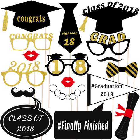18 Pcs 2018 Graduation Party Photo Booth Props Kit