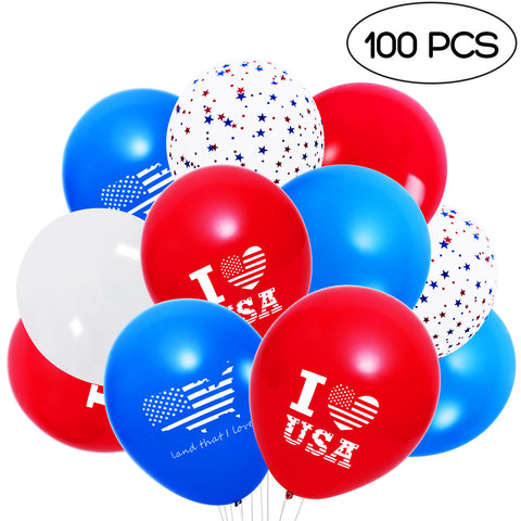100 Pcs 12 Inches Patriotic Decorations Star Print Latex Balloons
