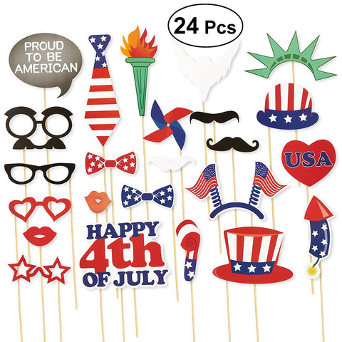 24pcs Patriotic Photo Booth Props Dress Up Decoration