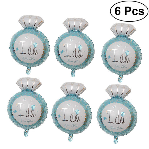 6Pcs I Do Diamond Ring Balloons  Foil Balloons for romance and wedding related events