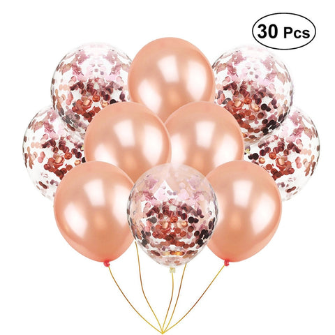 30pcs 12inch Rose Gold Paillette Confetti Balloons Clear Balloons with Confetti Gold Glitter