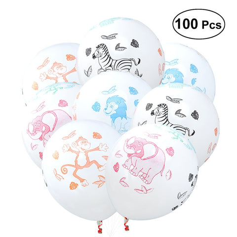 100Pc 12 Inch Latex Balloons (White Animal Picture)