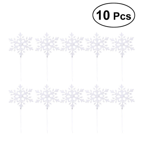 10pcs Paper Snowflake Cake Toppers (Silver)
