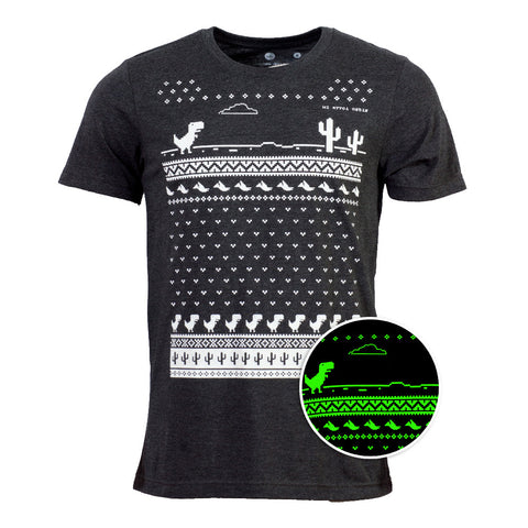 Mens Glow in the Dark Christmas Offline Dino T-shirt